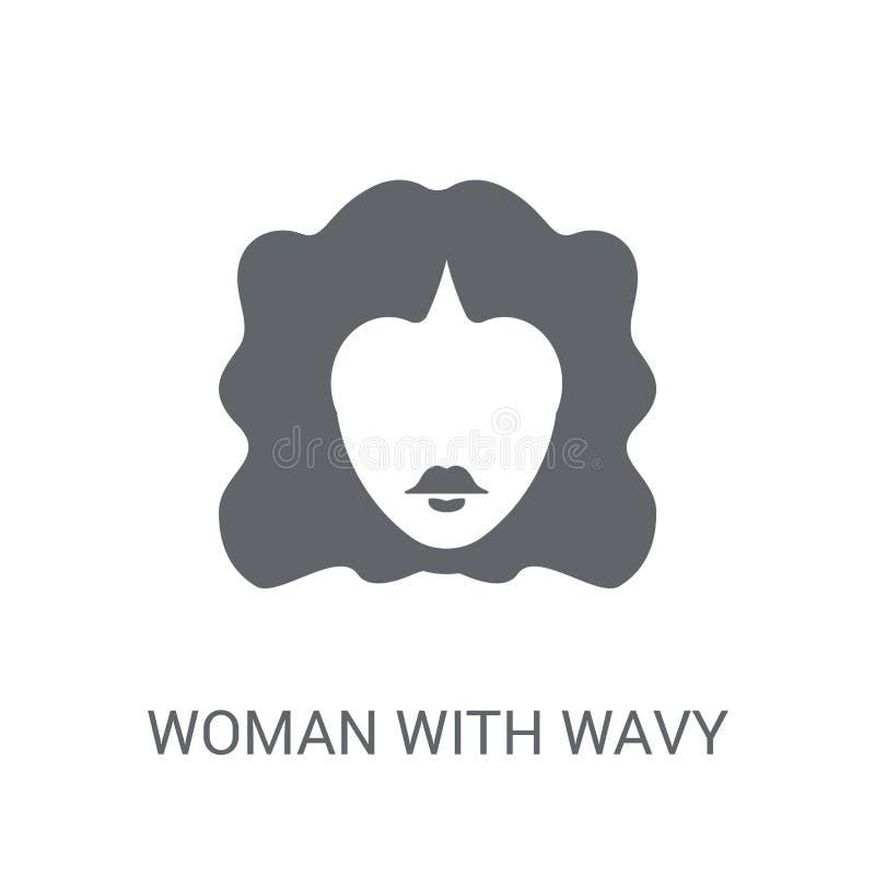 Femme avec l'icône de cheveux onduleux Femme à la mode avec le logo de cheveux onduleux concentré illustration de vecteur
