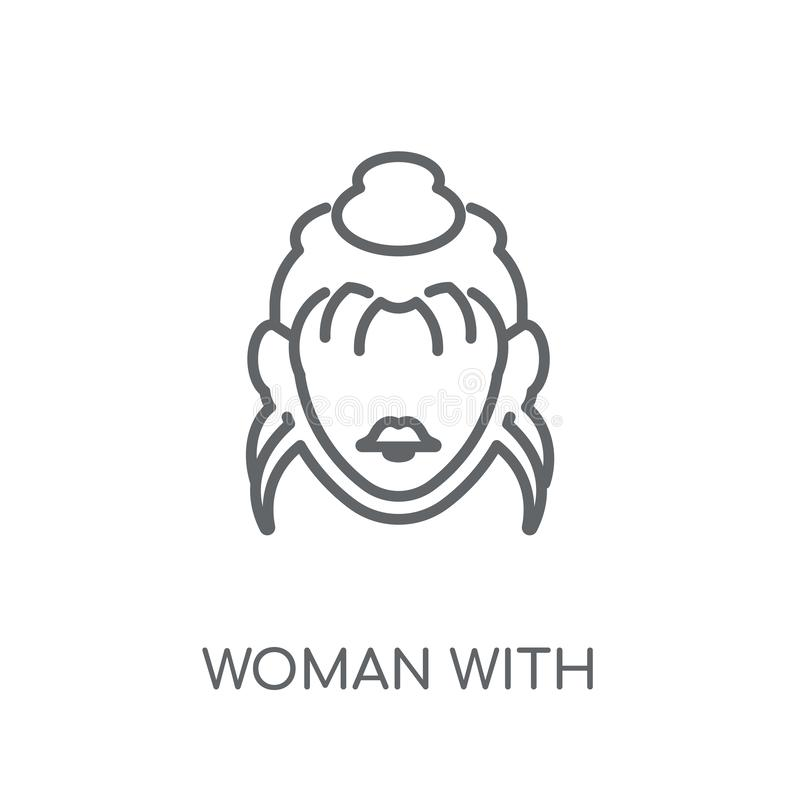 Femme avec l'icône linéaire de cheveux élégants Femme moderne d'ensemble avec S illustration stock