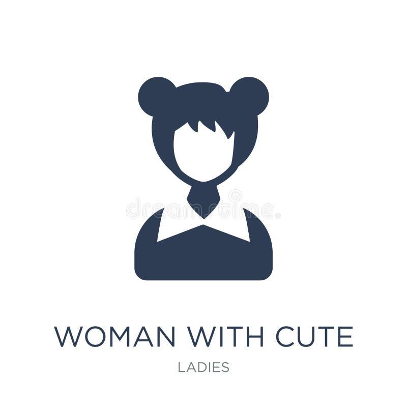 Femme avec l'icône mignonne de coiffure Femme plate à la mode de vecteur avec du Cu illustration stock