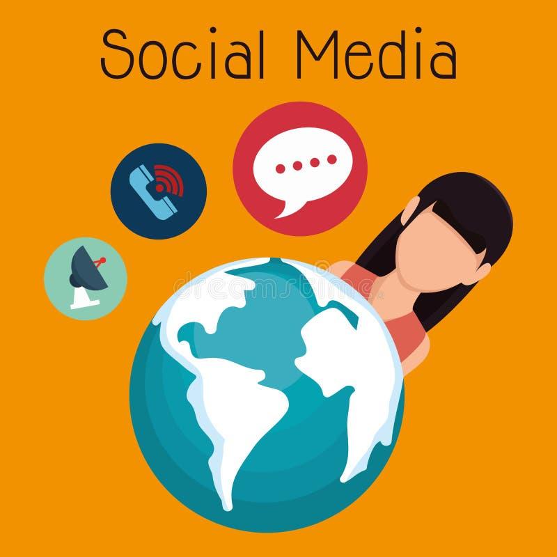 Femme avec l'icône sociale de media illustration stock