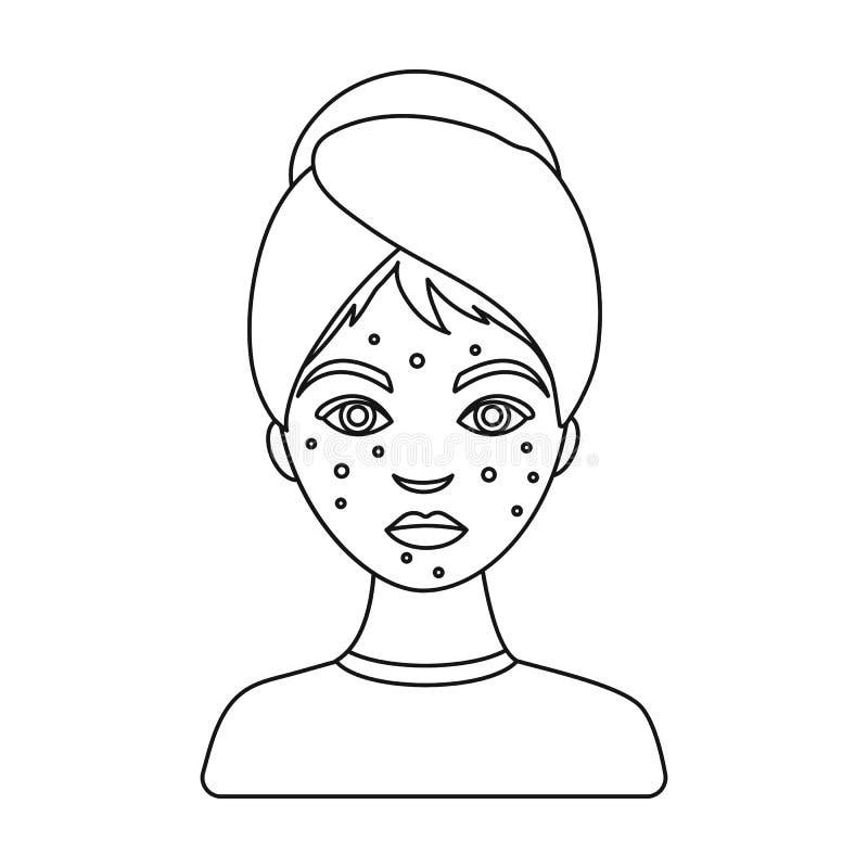 Femme avec l'icône d'acné dans le style d'ensemble d'isolement sur le fond blanc Illustration de vecteur d'actions de symbole de  illustration libre de droits