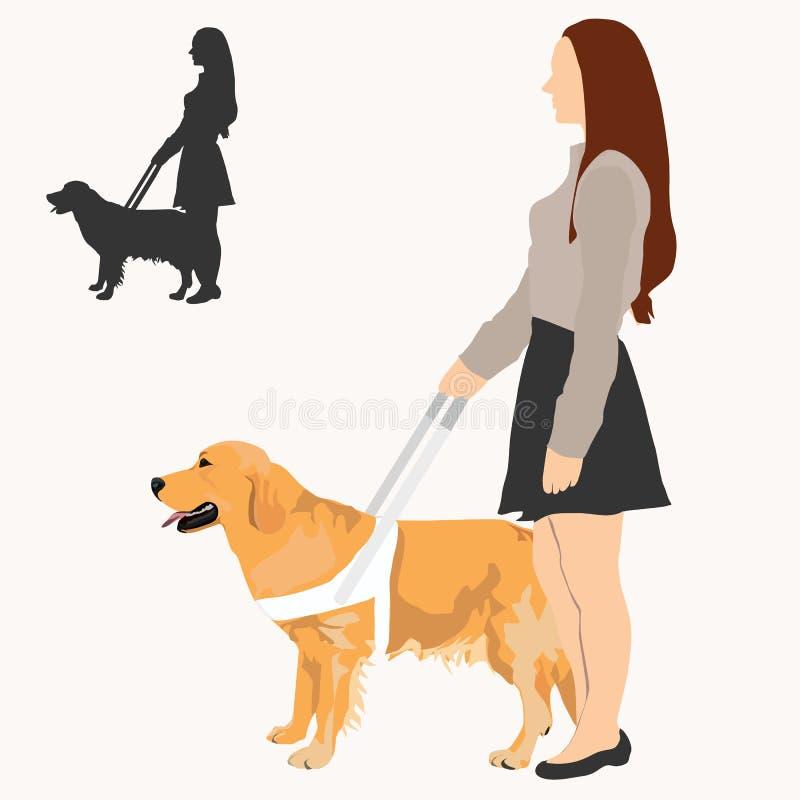Femme avec l'illustration de vecteur de chien de guide illustration libre de droits