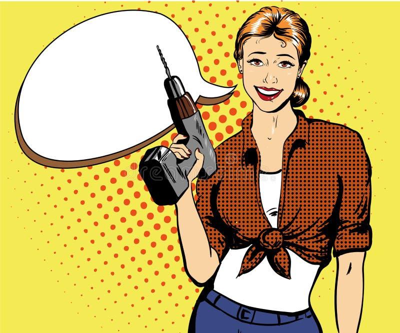 Femme avec l'illustration de vecteur de foret dans le rétro style comique d'art de bruit Machines-outils de fille et de matériel illustration de vecteur