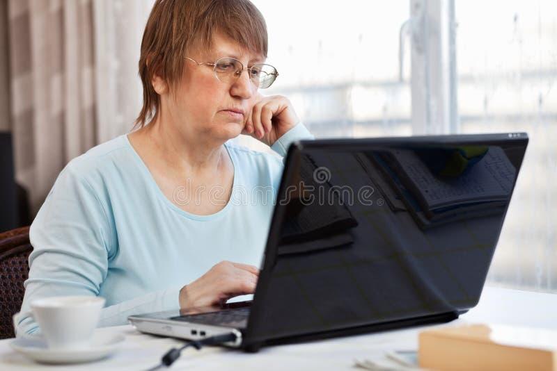 Femme avec l'ordinateur images stock