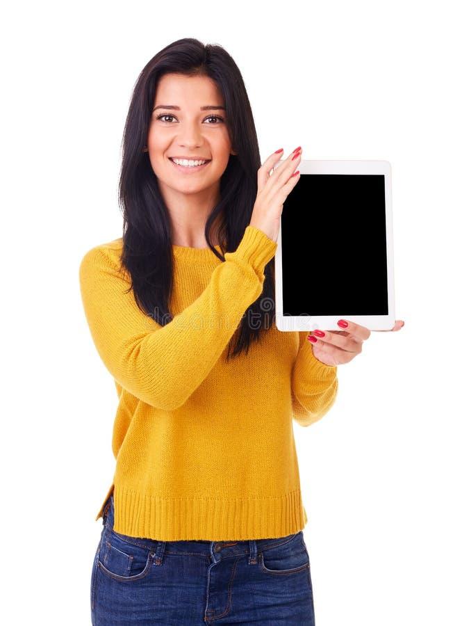 Femme avec l'ordinateur de tablette photographie stock libre de droits