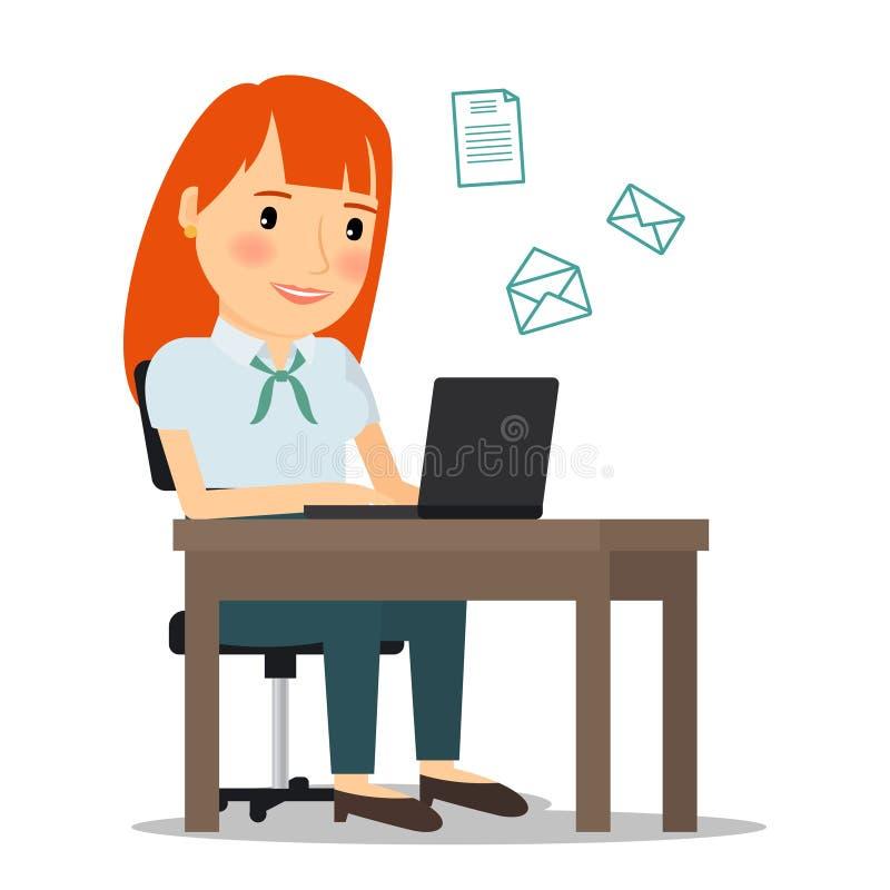 Femme avec l'ordinateur portable envoyant l'email illustration libre de droits