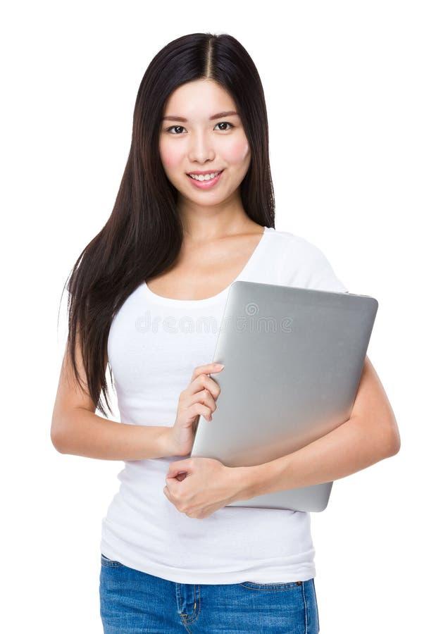 Download Femme Avec L'ordinateur Portatif Photo stock - Image du asie, réservoir: 45365664