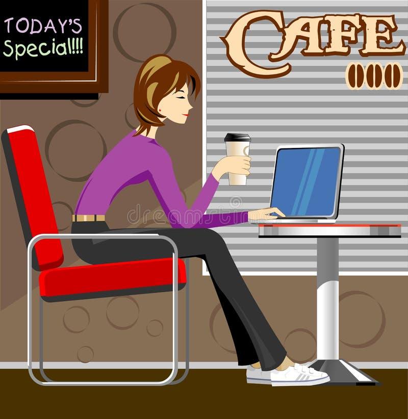 Femme avec l'ordinateur portatif dans le café-restaurant illustration libre de droits