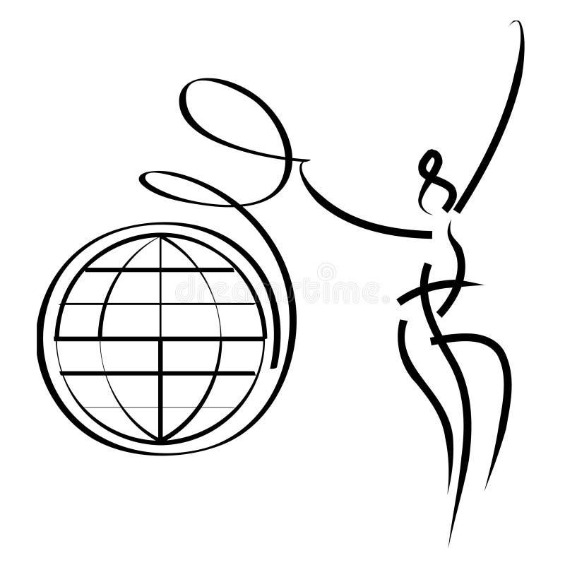 Femme avec la bande de globe illustration de vecteur