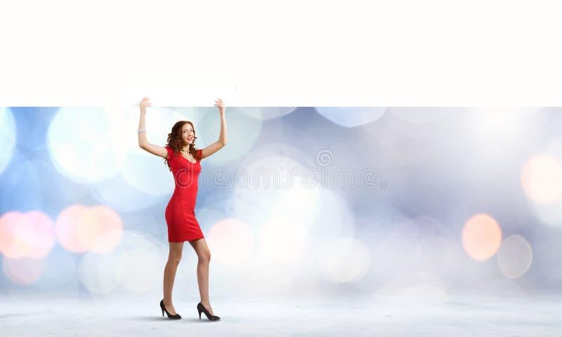 Femme avec la bannière image libre de droits