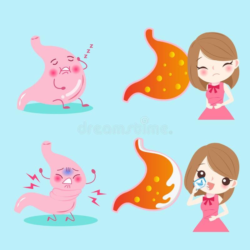 Femme avec la brûlure d'estomac illustration de vecteur