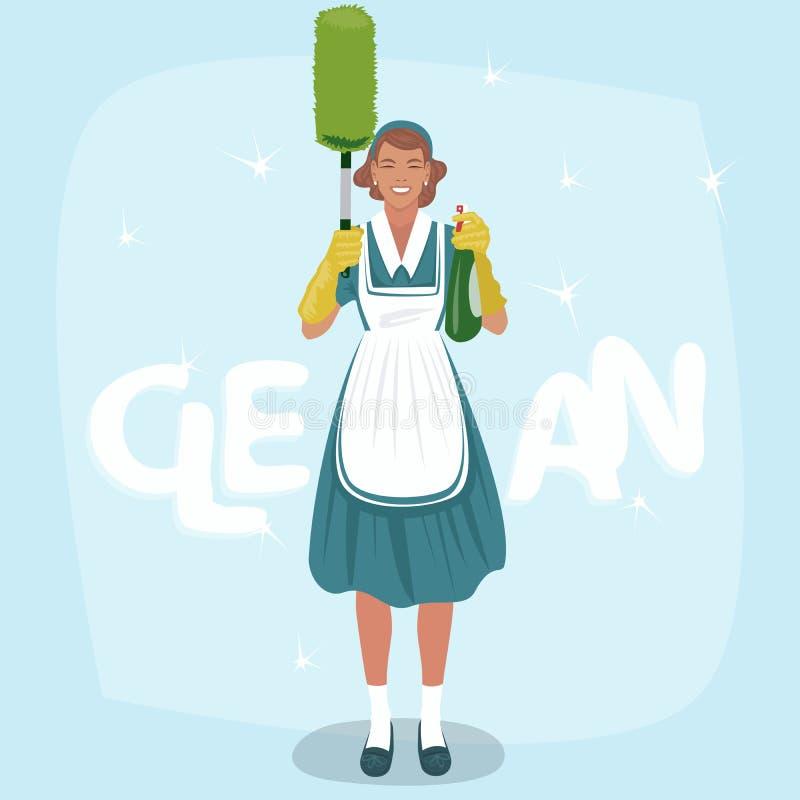 Femme avec la brosse de pulvérisateur et de poussière illustration stock