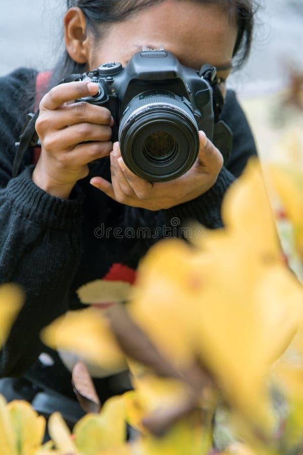 Femme avec la caméra sur le pré image stock