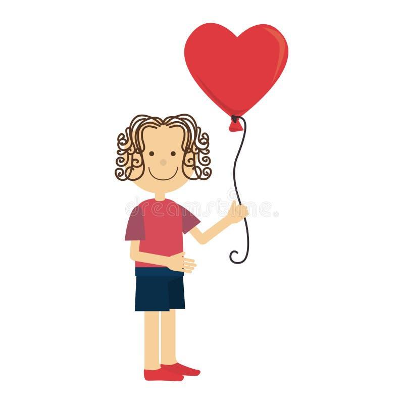 Femme avec la carte de coeurs d'air de ballons illustration stock