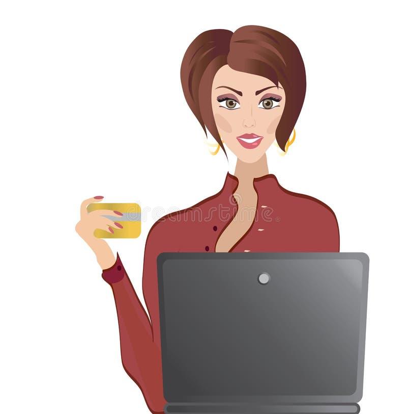 Femme avec la carte de crédit et l'ordinateur portable. Opérations bancaires en ligne d'achats et d'Internet illustration stock
