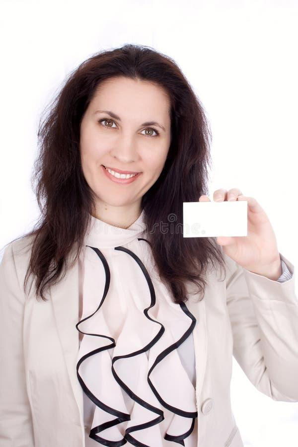 Femme avec la carte de visite professionnelle de visite photo stock