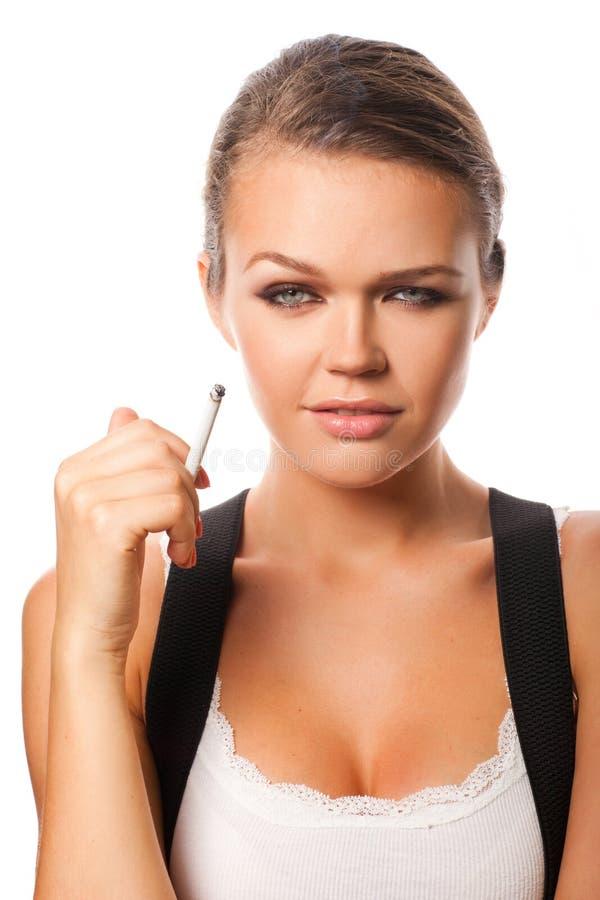 Femme avec la cigarette image stock