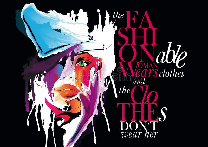 Femme avec la citation illustration stock