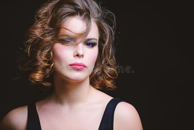Woman With Curly Hairstyle And Makeup On Black Background Makeup Idea For Elegant Outfit Professional Makeup Photo Stock Image Du Black Elegant 148827048