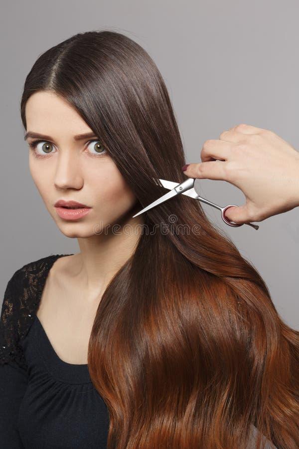 Femme avec la coiffure moderne dans le studio photo libre de droits