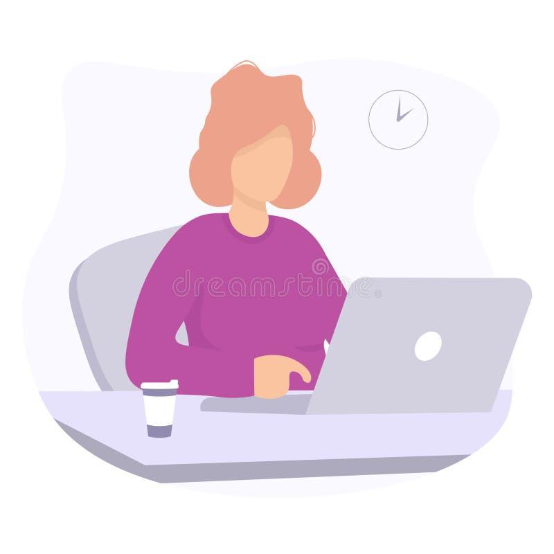 Femme avec la conception de l'avant-projet d'ordinateur portable et de coffe illustration stock