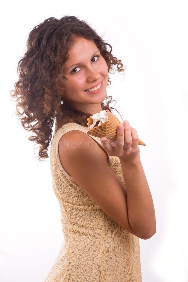 Femme avec la crême glacée photo libre de droits