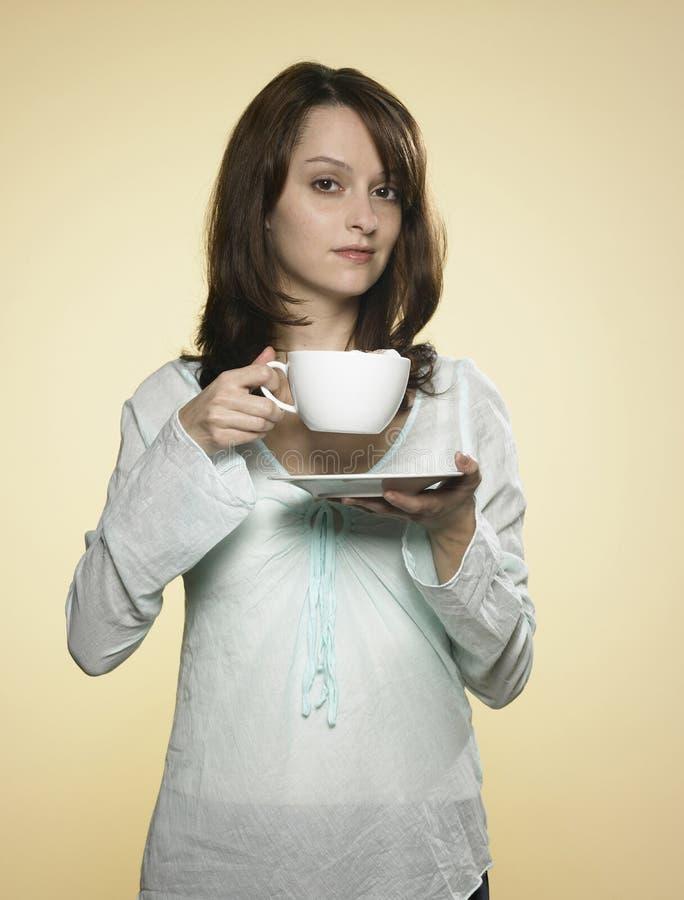 Femme avec la cuvette de café 03 photo stock