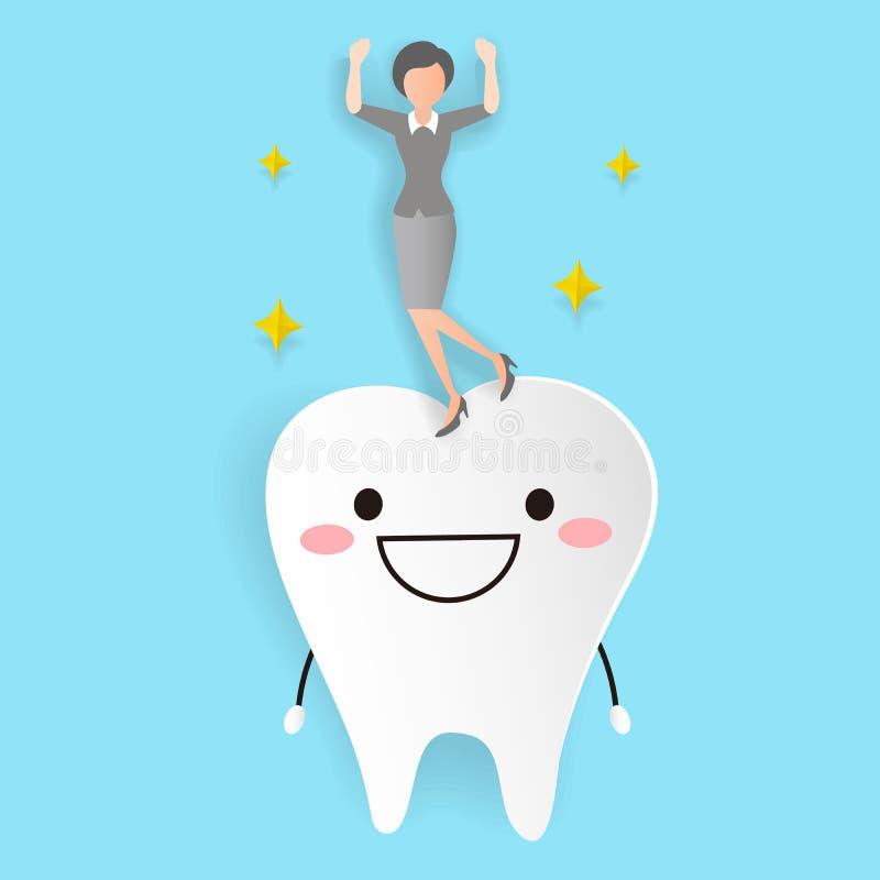 Femme avec la dent de santé illustration stock