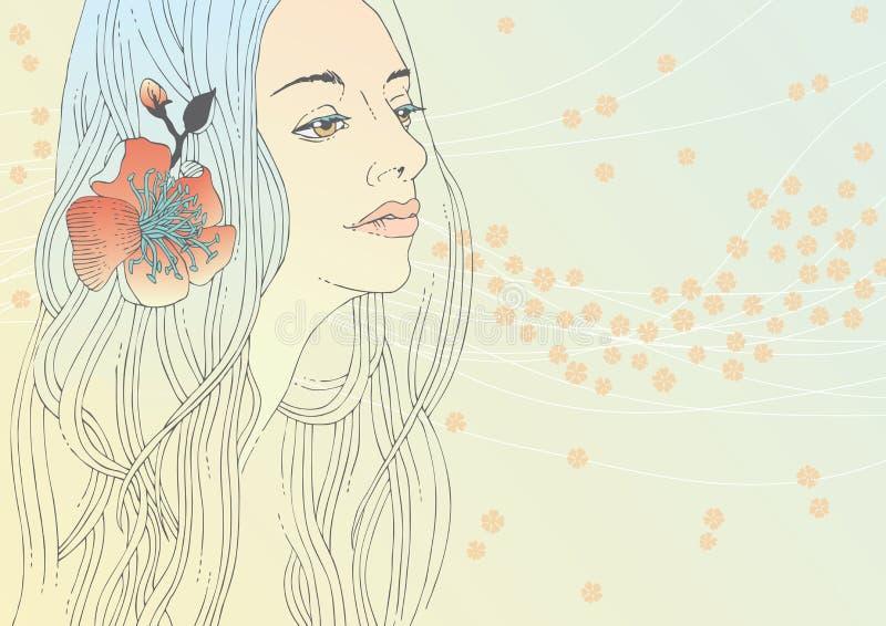 Femme avec la fleur rouge illustration libre de droits