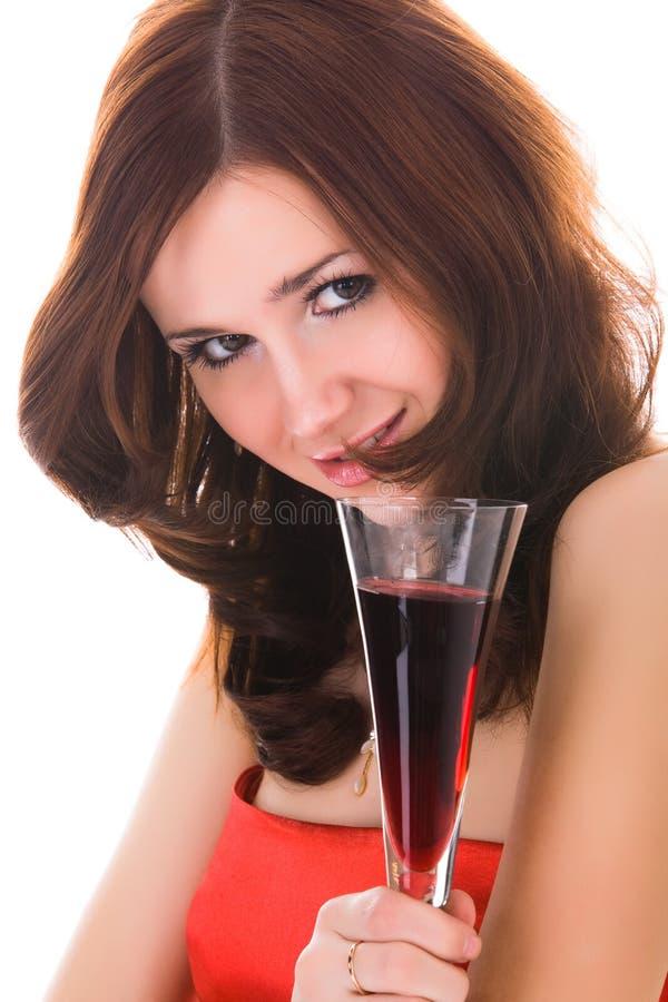 Femme avec la glace de vin photographie stock libre de droits