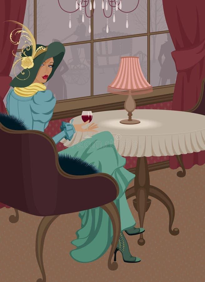 Femme avec la glace de vin rouge au restaurant illustration libre de droits