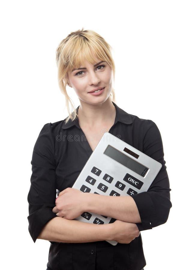 Femme avec la grande calculatrice images stock
