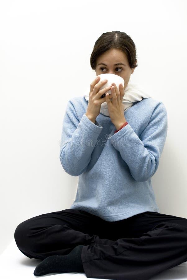 Femme avec la grippe photo stock