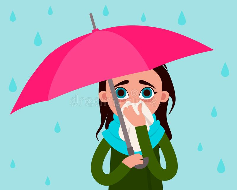 Femme avec la grippe sous la pluie illustration de vecteur