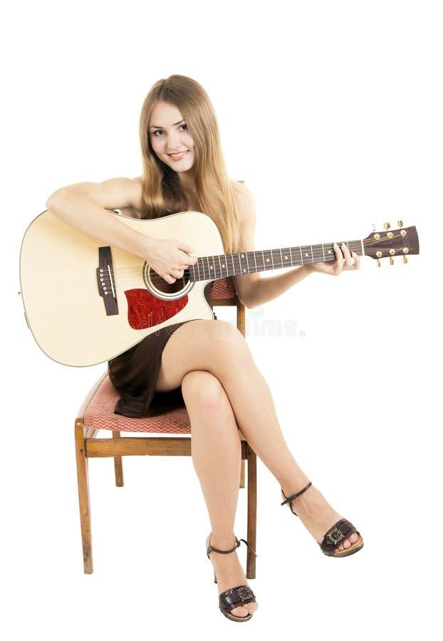 Femme avec la guitare images libres de droits