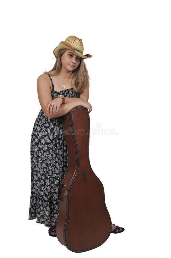 femme avec la guitare image libre de droits