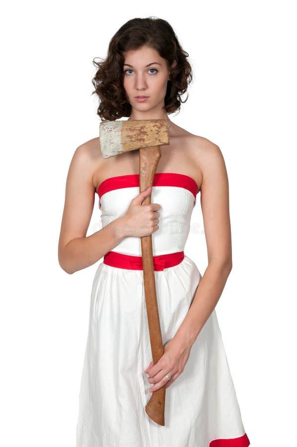 Femme avec la hache images stock
