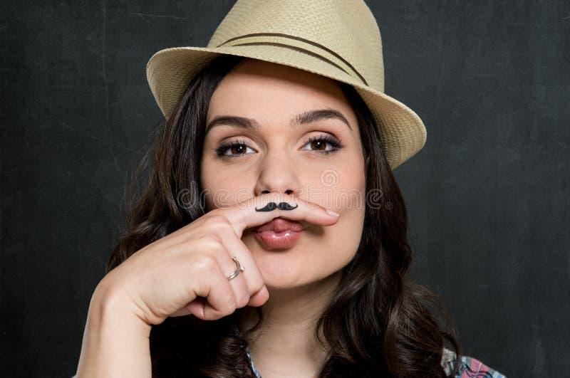 Femme avec la moustache de vintage photographie stock libre de droits