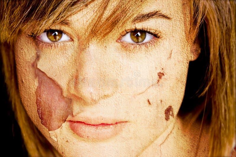 Femme avec la peau endommagée. photographie stock