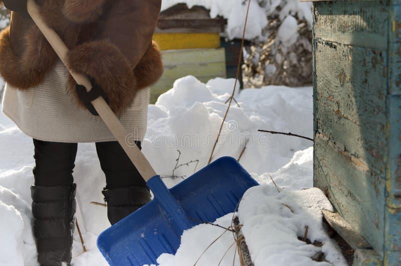Femme avec la pelle à neige photos stock