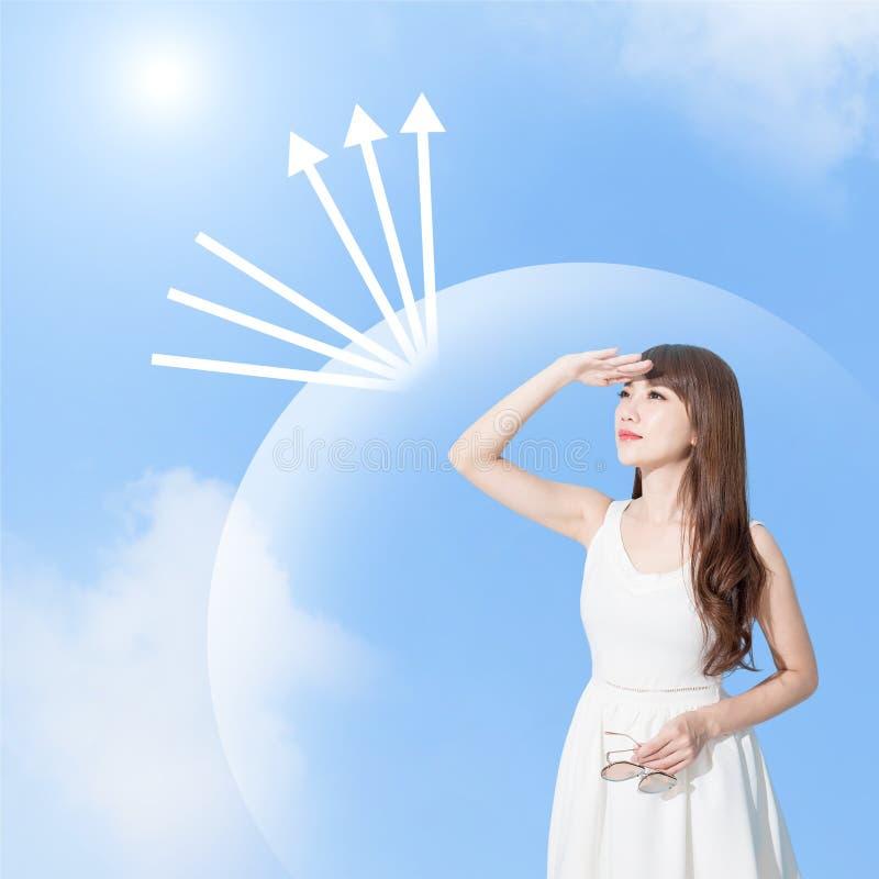 Femme avec la protection du soleil photos libres de droits