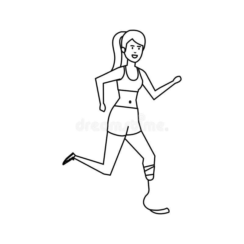 Femme avec la prothèse de pied illustration libre de droits