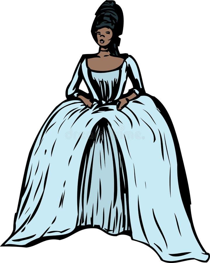 Femme avec la robe et le 'stomacher' ronds illustration stock