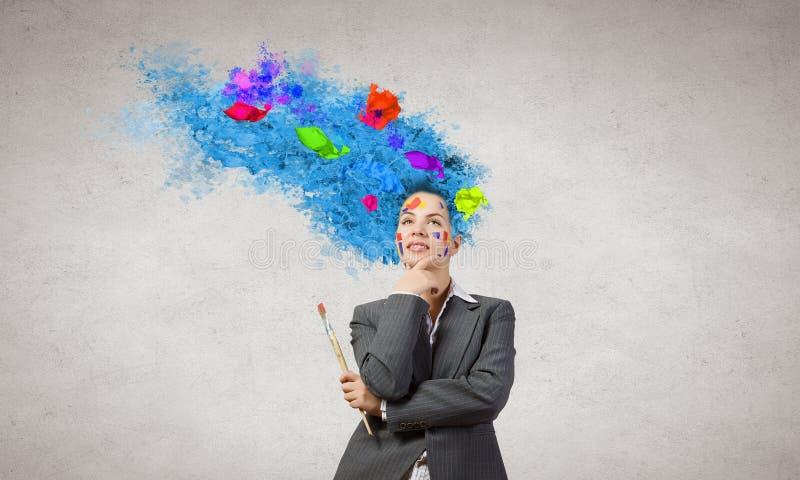 Download Femme avec la tête colorée image stock. Image du couleur - 56480649
