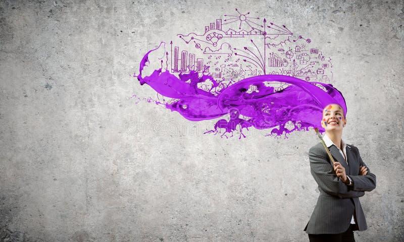 Download Femme avec la tête colorée image stock. Image du femme - 56481825