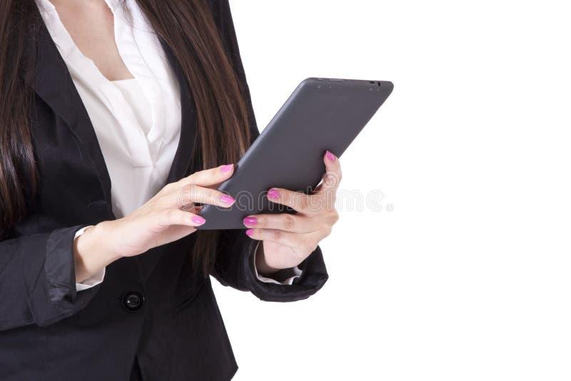 Femme avec la tablette photos stock