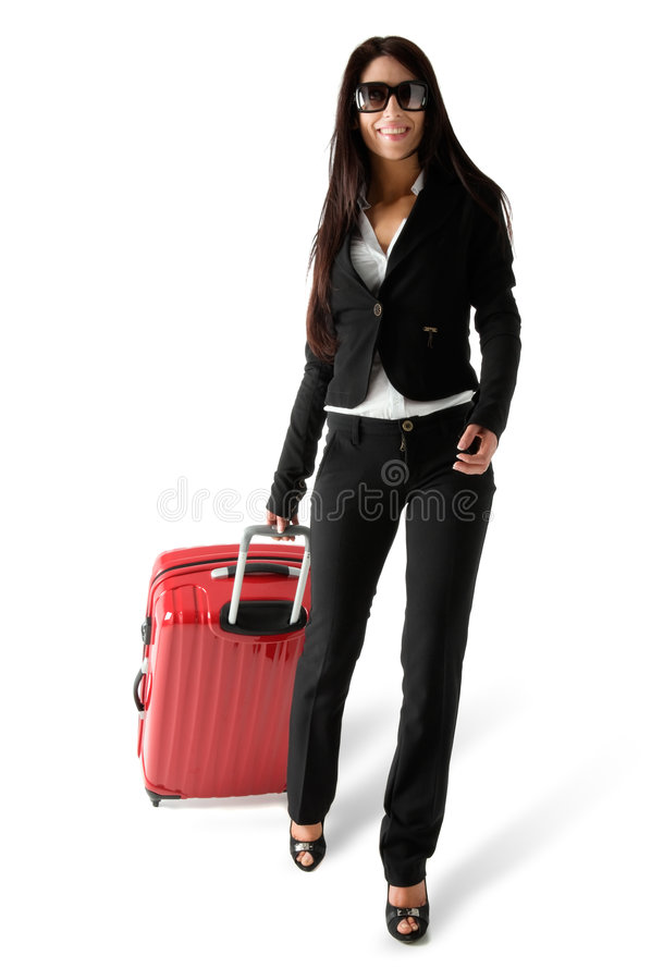 Femme avec le bagage photographie stock