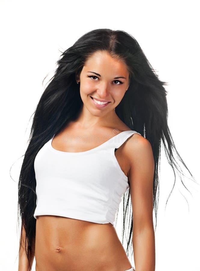 Femme avec le beau cheveu au-dessus du blanc photo stock