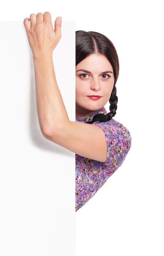 Femme avec le blanc image stock