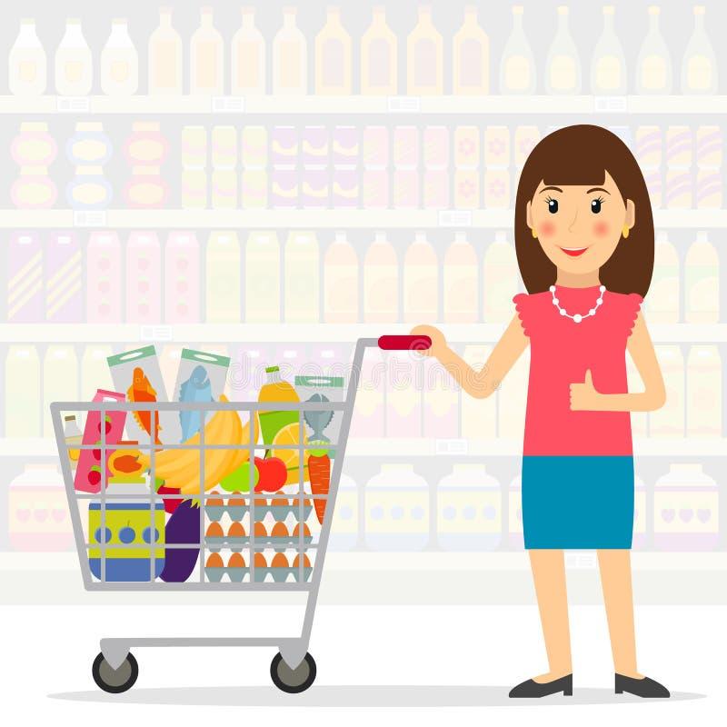 Femme avec le caddie complètement de la nourriture illustration libre de droits